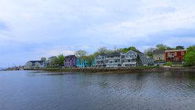 Timelapse of colorful buildings of Mahone Bay, Nova Scotia 4K stock video