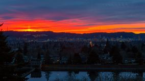 Timelapse of colorful sunset and clouds over downtown city of Portland Oregon stock footage