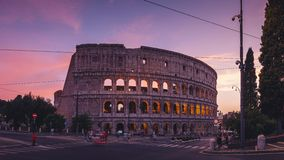 Timelapse of the Colosseum in Rome at dawn in 8k stock video