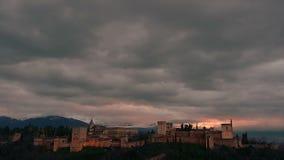 Timelapse com as nuvens de Alhambra video estoque