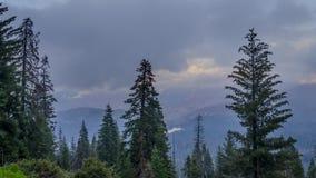 Timelapse com nuvens e névoa nas montanhas no parque nacional de sequoia, 4K filme