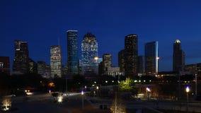 Timelapse crepuscular centro de ciudad de la Houston, Tejas 4K almacen de video