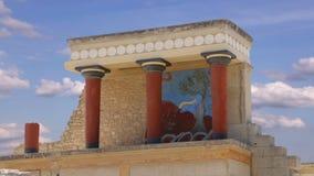 Timelapse crete knossosslott Detaljen av forntida fördärvar av den berömda Minoan slotten av Knosos crete greece ö stock video