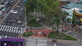 Timelapse of crossroad traffic in Seoul, South Korea stock video footage