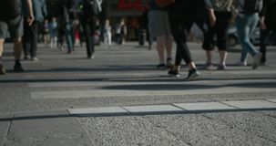 Timelapse of a crowded intersection in urban Stockholm in the summer. Only feet shown. stock footage