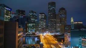 Timelapse da baixa de Boston na noite vídeos de arquivo