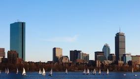 Timelapse da Boston do centro através do porto 4K video estoque