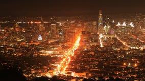 Timelapse da noite do centro da cidade 4K de San Francisco filme