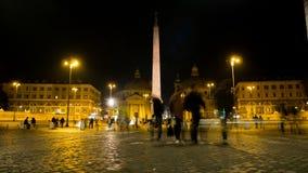 Timelapse da noite em um dos quadrados os mais bonitos de Roma, Praça del Popolo video estoque