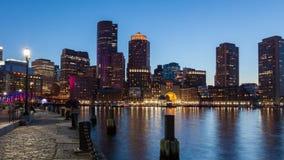 timelapse da noite 4K da skyline de Boston - Massachusetts - EUA filme
