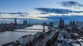 Timelapse da skyline de Rotterdam 4K video estoque