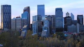 Timelapse dag till natten av Calgaryen, Kanada centrum 4K stock video