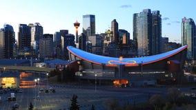 Timelapse dag till natten av den Calgary horisonten 4K lager videofilmer