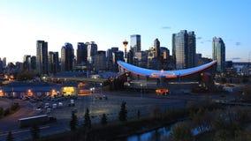 Timelapse dag till natten av det Calgary centret 4K lager videofilmer