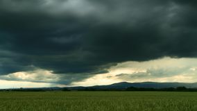 Timelapse - Dark clouds over the Taunus low mountain range stock footage