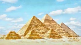Timelapse das grandes pirâmides no vale de Giza, o Cairo, Egito Por do sol sobre as pirâmides Vídeo do stylization da aquarela filme