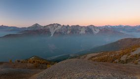 Timelapse from dawn to sunrise on the the Alps. The majestic glaciers and mountain peaks of the Massif des Ecrins, over 4000 m, Fr stock video