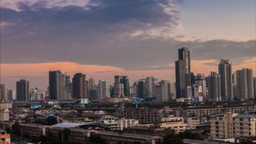 Timelapse day to night hight view of Bangkok city with modern building stock footage