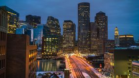 Timelapse de Boston do centro no nascer do sol vídeos de arquivo