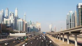 Timelapse de Dubai de la carretera del puerto deportivo de Dubai almacen de metraje de vídeo