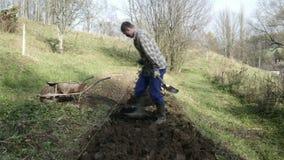 Timelapse de jeune jardinier travaillant dans le jardin banque de vidéos