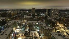 Timelapse de la ciudad en la noche. Moscú, visión aérea. Tiro ancho, alto ángulo. metrajes