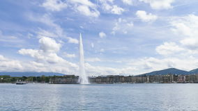 Timelapse de la fuente de agua de Ginebra (d'eau del jet) en Ginebra, Suiza almacen de video