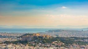 Timelapse de la opinión aérea sobre Atenas, Grecia metrajes