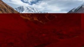 Timelapse de lugar turístico surpreendente Ushguli situado no pé de Shkhara, das cimeiras caucasianos as mais altas, a comunidade video estoque