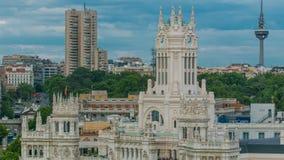 Timelapse de Madrid, opinión aérea de los comunicaciones de Palacio de los posts de Madrid, Plaza de Cibeles, palacio del panoram almacen de video
