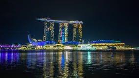 Timelapse de Marina Bay Ships del lightshow de la noche de Singapur almacen de metraje de vídeo