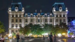 Timelapse de nuit de Parvis Notre Dame - placez Jean-Paul II paris france banque de vidéos