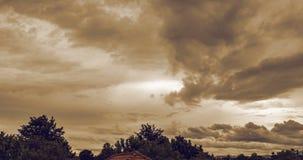 Timelapse de passer des nuages au-dessus de l'arbre et de la construction banque de vidéos