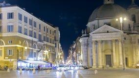 Timelapse de Piazza del Popolo con las iglesias gemelas de Santa Maria en de la plaza de Miracoli del dei de Montesanto y de Sant almacen de video