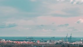 Timelapse de port méditerranéen de Tarragone, Espagne banque de vidéos