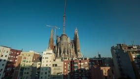 Timelapse de Sagrada Familia en el día, tarde y en la noche almacen de video