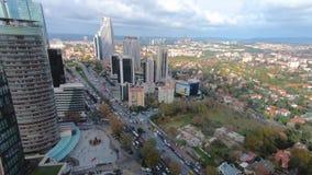 Timelapse de secteur de Levent comme vu du bâtiment de Ferko, Istanbul, Turquie banque de vidéos
