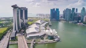 Timelapse de Singapura Marina Bay Sands Aerial video estoque