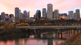 Timelapse de Stadscentrum van van Edmonton, Canada in de herfst 4K stock video