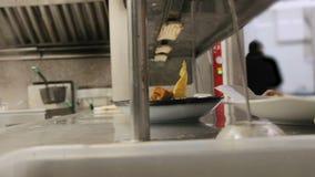 Timelapse de un equipo ocupado de cocineros y los camareros y la cocina proveen de personal la comida preparada y de servicio en  almacen de metraje de vídeo