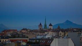 Timelapse del horizonte de Ginebra almacen de metraje de vídeo