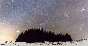 Timelapse del modo 4k del cometa de la lluvia de meteoritos de las estrellas fugaces almacen de video