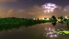 Timelapse del río de la tempestad de truenos