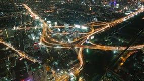 Timelapse del tráfico de la noche de Bangkok almacen de video