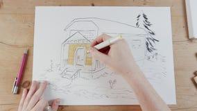 Timelapse des Künstlers ein Haus zeichnend vektor abbildung