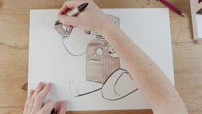 Timelapse des Künstlers einen Spielzeugroboter zeichnend lizenzfreie abbildung