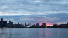 Timelapse Detroit linia horyzontu od belle wyspy dnia noc 4K zdjęcie wideo