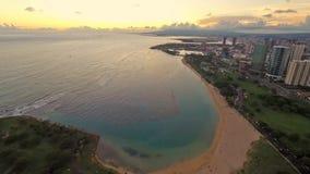 Timelapse die Ala Moana van Honolulu Strand overzien stock footage