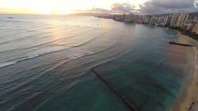 Timelapse die Waikiki-Strand overzien stock videobeelden