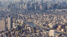 Timelapse diurno de la ciudad de Tokio, Japón del árbol del cielo que muestra el río de Sumida almacen de video